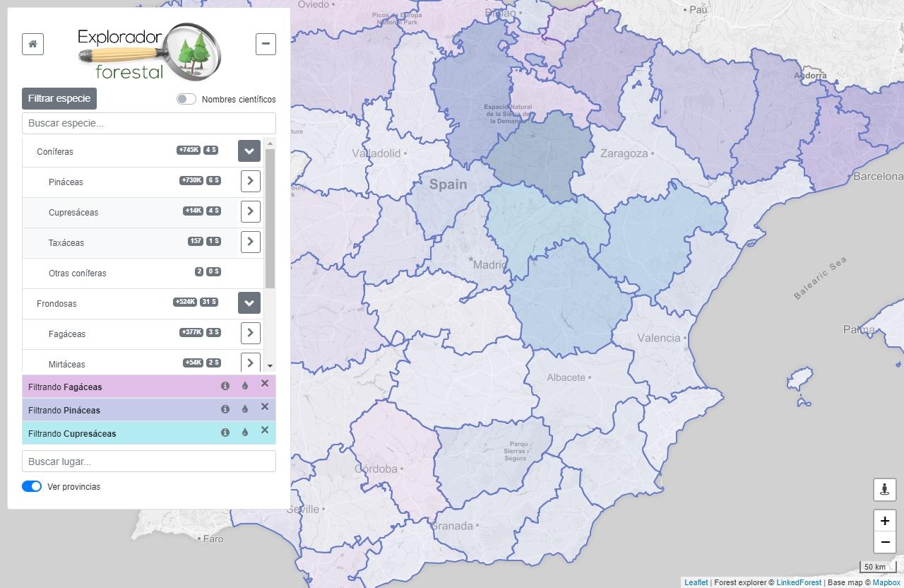 Una herramienta web desarrollada por miembros de la Universidad de Valladolid que facilita la exploración del inventario forestal, finalista del Desafío Aporta 2019